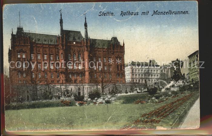 Stettin Westpommern Rathaus mit Manzelbrunnen Kat. Szczecin