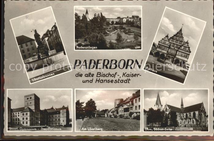 Paderborn Liboriusbrunnen Paderanlagen Rathaus Gymnasium Dom Kat. Paderborn