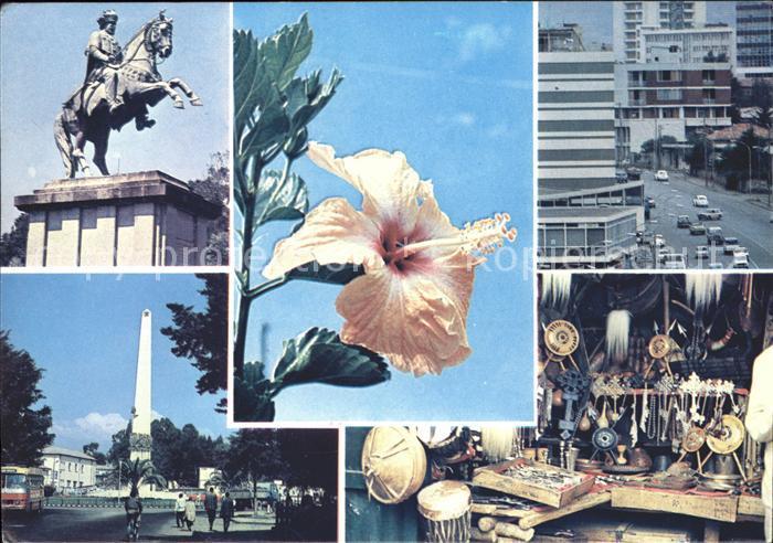 Addis Ababa Sehenswuerdigkeiten Reiterdenkmal Obelisk Blume Kat. Addis Ababa
