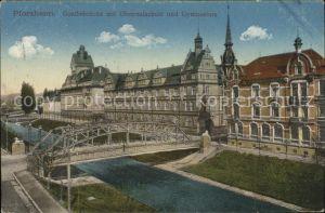 Pforzheim Goethebrueck mit Oberrealschule Gymnasium Kat. Pforzheim