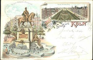 Koeln Rhein Kaiser Wilhelm Denkmal Kaiser Wilhelm Ring Bahnpost Kat. Koeln