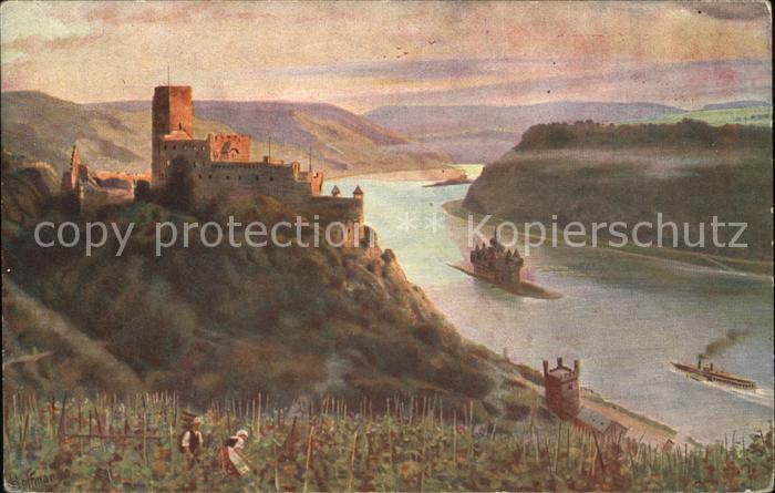 Caub Burg Gutenfels mit der Pfalz Burg Pfalzgrafenstein Kat. Kaub
