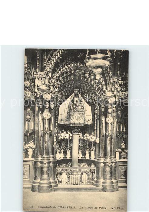 Chartres Eure et Loir Cathedrale Vierge du Pilier Vierge Noire Statue XV siecle Kat. Chartres