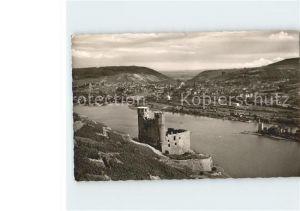Bingen Rhein Blick auf Burg Ehrenfels und Bingerbrueck Kat. Bingen am Rhein