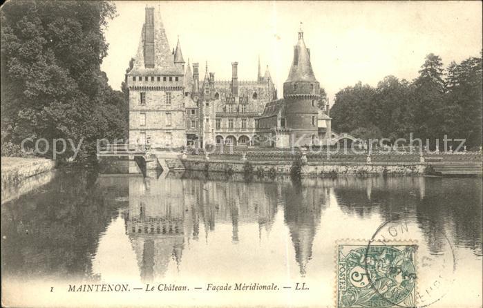 Maintenon Chateau Facade Meridionale Stempel auf AK Kat. Maintenon