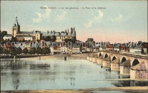 Gien Vue generale Pont et Chateau Kat. Gien