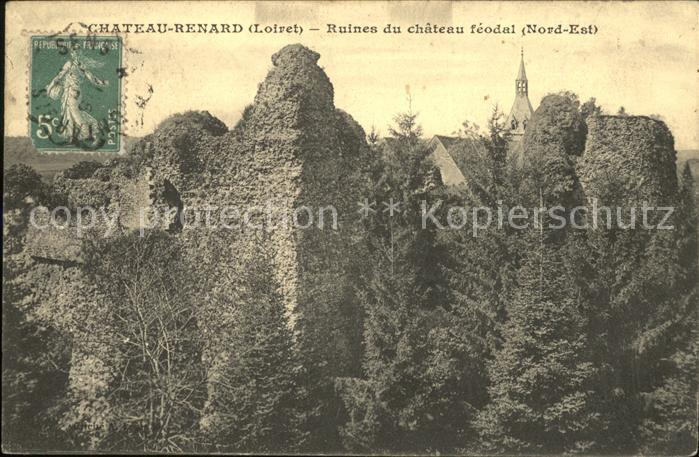 Chateau Renard Ruines du Chateau feodal Stempel auf AK Kat. Chateau Renard