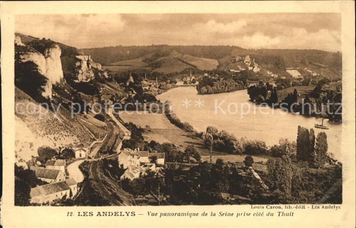 Les Andelys Vue panoramique de la Seine prise cote du Thuit Kat. Les Andelys