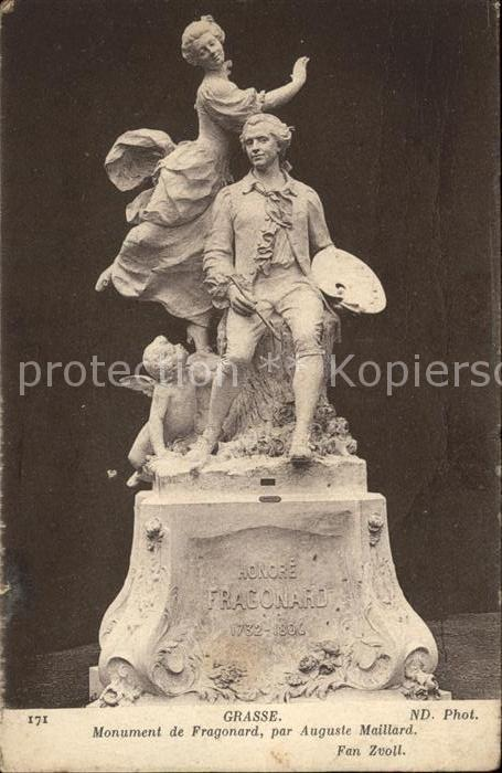 Grasse Alpes Maritimes Monument de Fragonard par Auguste Maillard Kat. Grasse