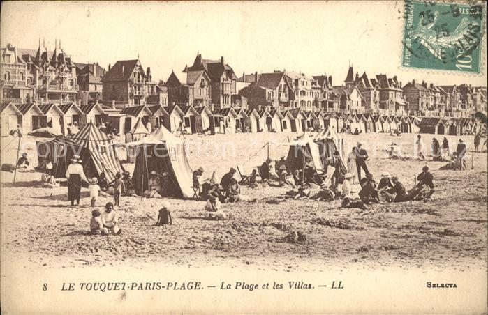 Le Touquet Paris Plage Plage et Villas Stempel auf AK Kat. Le Touquet Paris Plage