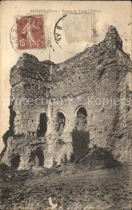 Brionne Ruines du vieux Chateau Stempel auf AK Kat. Brionne