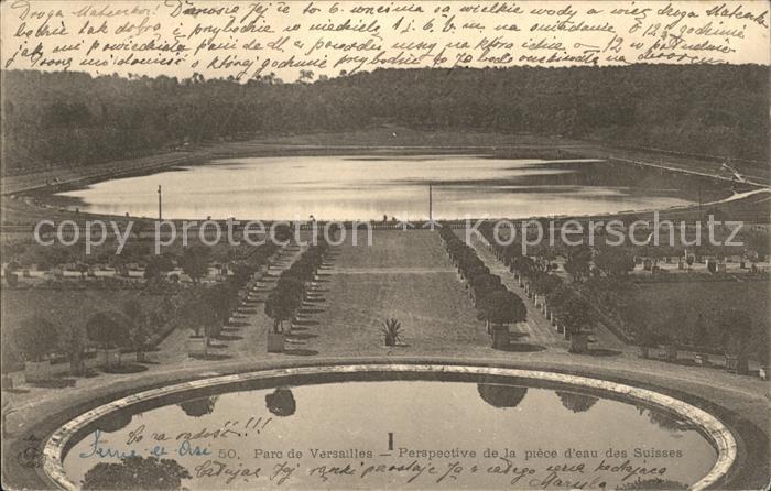 Versailles Yvelines Parc Perspective de la piece d eau des Suisses Kat. Versailles