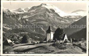 Lauenen Kirchlein Blick zum Wildhorn Berner Alpen Kat. Lauenen