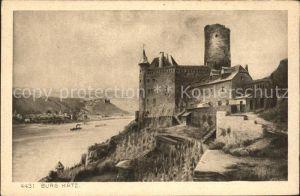 St Goarshausen Burg Katz Rhein Kupferdruck Kat. Sankt Goarshausen