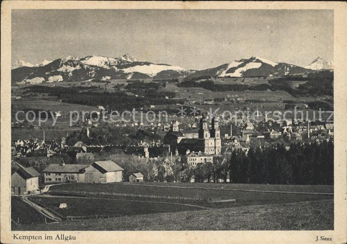 Kempten Allgaeu Gesamtansicht mit Alpenpanorama Kupfertiefdruck Kat. Kempten (Allgaeu)