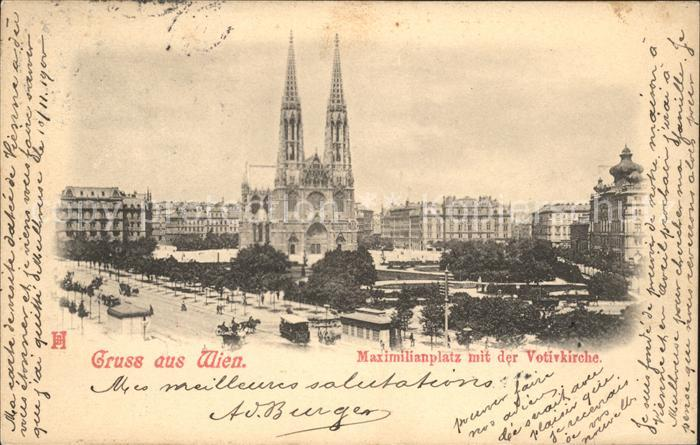 Wien Maximilianplatz mit Votivkirche Kat. Wien