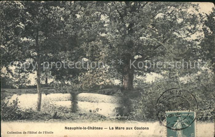 Neauphle le Chateau La Mare aux Coulons Stempel auf AK Kat. Neauphle le Chateau