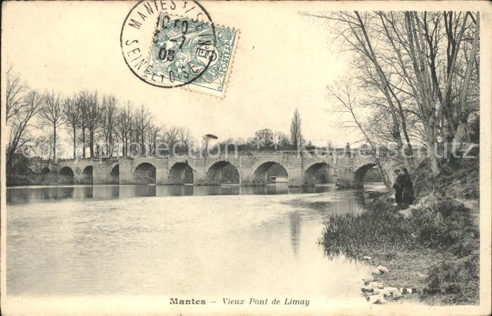 Mantes sur Seine Vieux Pont de Limay Stempel auf AK Kat. Mantes la Jolie
