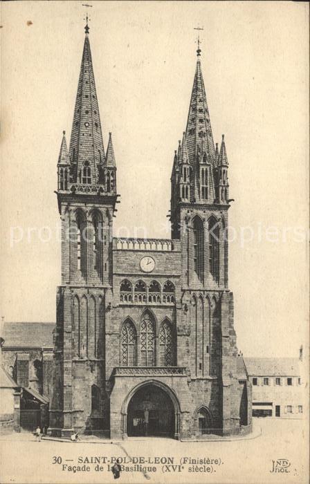 Saint Pol de Leon Facade de la Basilique XVI siecle Kat. Saint Pol de Leon