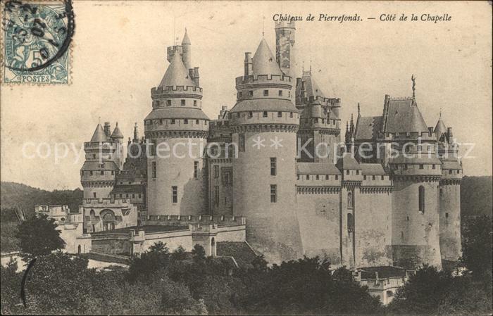 Pierrefonds Oise Chateau Cote de la Chapelle Stempel auf AK Kat. Pierrefonds