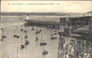 Saint Malo Ille et Vilaine Bretagne Bastion Saint Philippe et le Mole Bateau Kat. Saint Malo