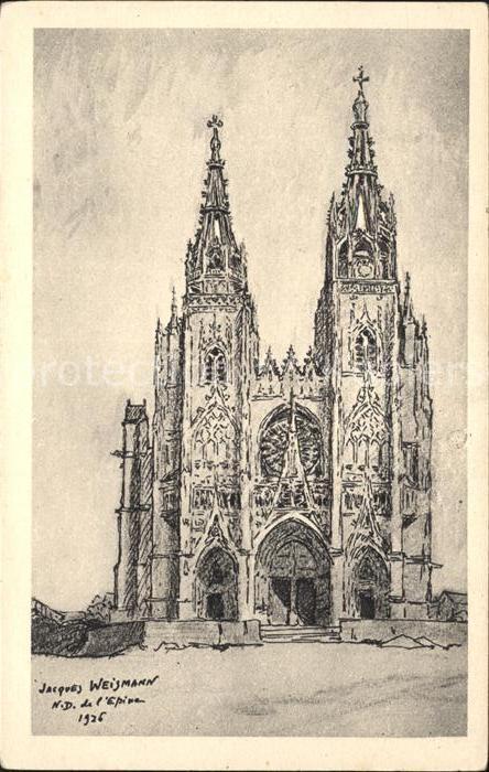 L Epine Marne Eglise Notre Dame Dessin De J Weismann Kuenstlerkarte