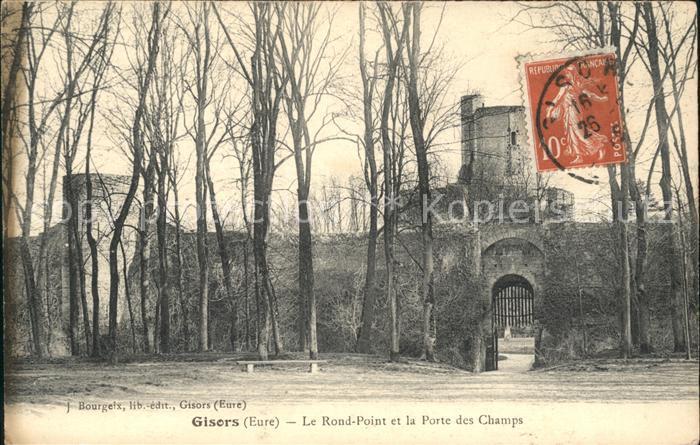 Gisors Eure Rond Point et la Porte des Champs Stempel auf AK Kat. Gisors
