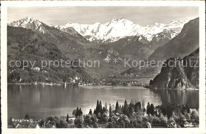 Hergiswil NW Panorama Vierwaldstaettersee mit Alpen Kat. Hergiswil NW