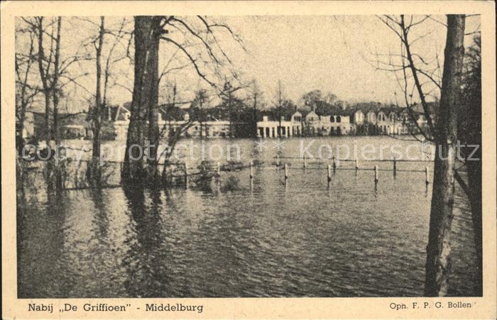 Middelburg Zeeland Nabij De Griffioen Hochwasser Kat. Middelburg