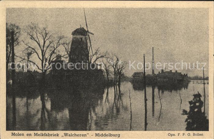 Middelburg Zeeland Molen en Melkfabriek Walcheren Windmuehle Hochwasser Kat. Middelburg