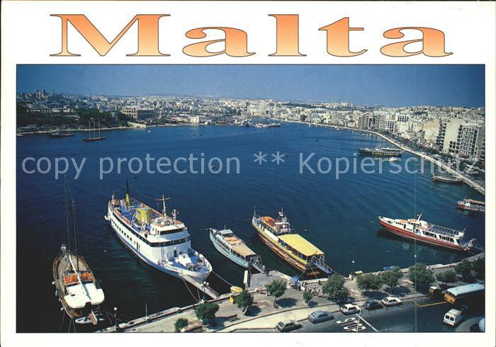 Sliema Strand Dampfer Segelboot  Kat. Sliema