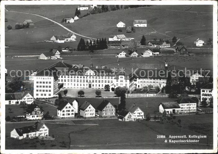 Appenzell IR Kollegium St. Antonius und Kapuzinerkloster Fliegeraufnahme Kat. Appenzell