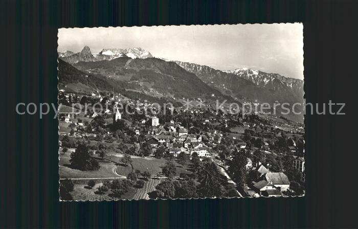 St Legier Vue generale et les Alpes vue aerienne Kat. St Legier
