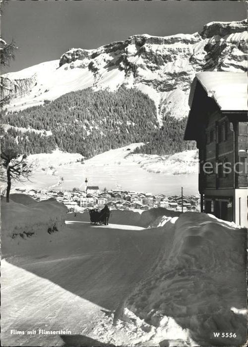 Flims Dorf Dorfpartie Pferdeschlitten Flimserstein Kat. Flims Dorf