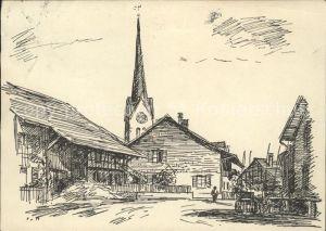Wuelflingen Winterthur Hinterdorf Kirche Kuenstlerkarte Federzeichnung P. v. Moos Kat. Winterthur