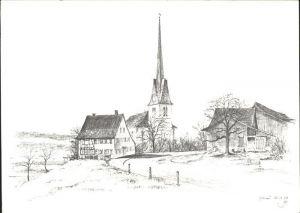 Gossau ZH Dorfmotiv Kirche Kat. Gossau ZH