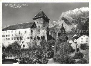 Maienfeld Schloss Brandis mit Falknis Kat. Maienfeld