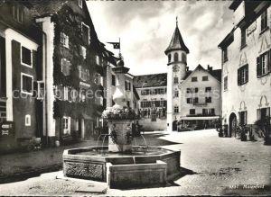 Maienfeld Platz mit Brunnen Kat. Maienfeld