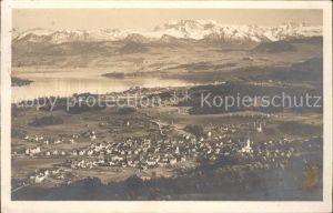 Adliswil Panorama mit Zuerichsee und Glaernischgruppe Kat. Adliswil