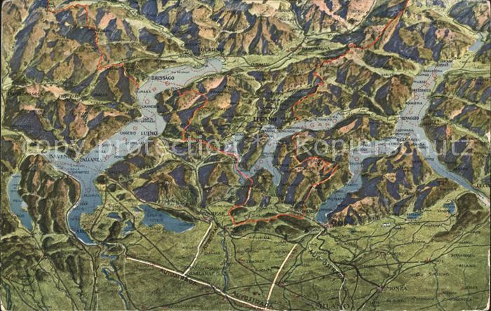 Lugano TI Drei Seen Landkarte Lago die Lugano Maggiore Como Kat. Lugano