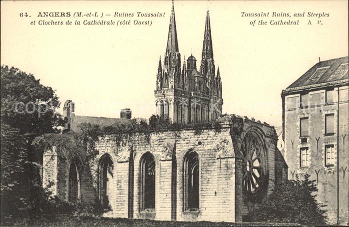 Angers Ruines Toussaint et Clochers de la Cathedrale Kat. Angers