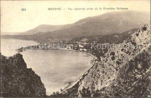 Menton Alpes Maritimes Vue generale prise de la Frontiere Italienne Kat. Menton
