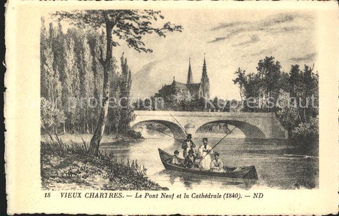 Chartres Eure et Loir Vieux Chartres Pont Neuf et la Cathedrale vers 1840 Kat. Chartres