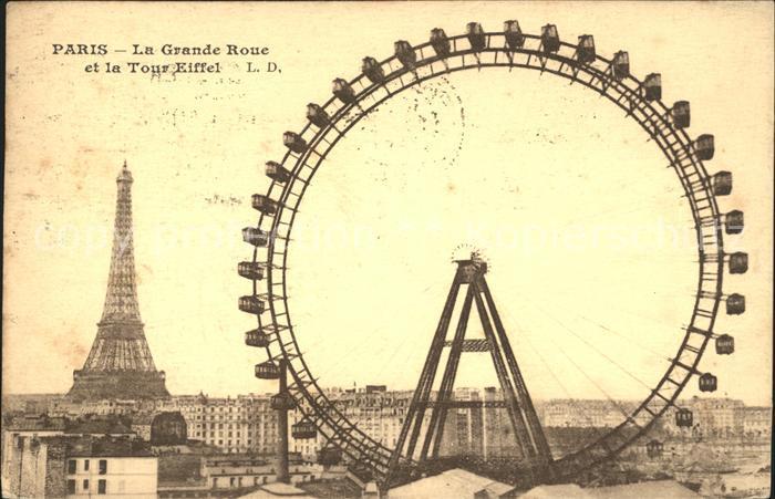 Paris La Grande Roue et Tour Eiffel Kat. Paris