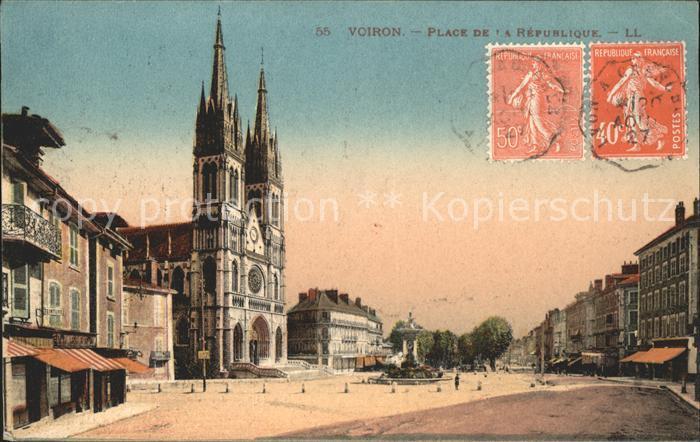 Voiron Place de la Republique Stempel auf AK Kat. Voiron