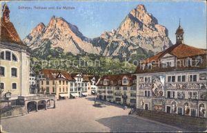 Schwyz Rathaus und die Mythen Kat. Schwyz