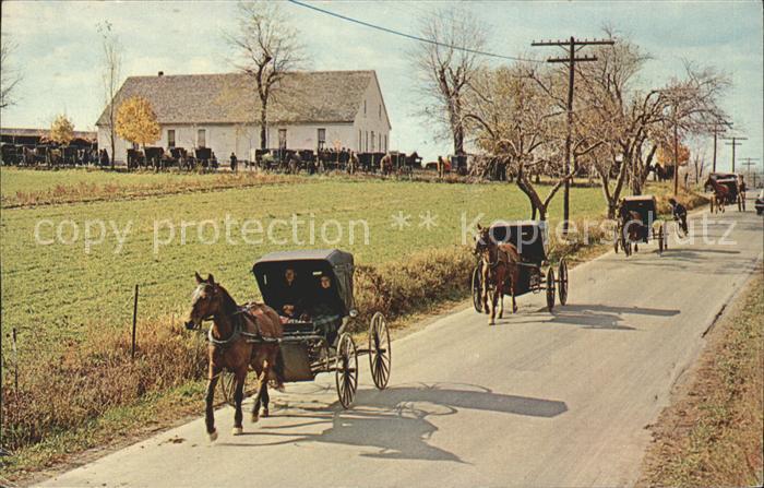 Johnstown Pennsylvania Mennonite Carriages at Church Pferdewagen Kat. Johnstown