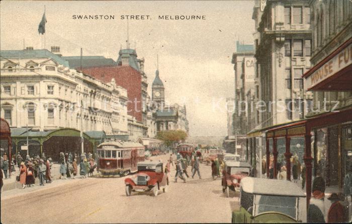 Melbourne Victoria Swanston Street Strassenbahn Autos Kat. Melbourne