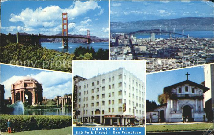 San Francisco California Golden Gate Bridge Palace of Fine Arts Mission Dolores Embassy Hotel Kat. San Francisco