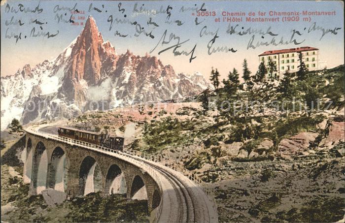 Chamonix Chemin de Fer Montanvert Hotel Aiguille du Dru Gebirgspanorama Kat. Chamonix Mont Blanc